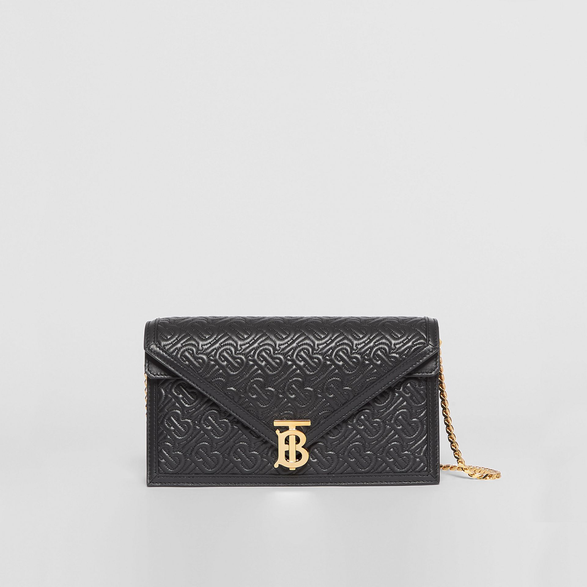Small Quilted Monogram TB Envelope Clutch in Black - Women | Burberry United States - gallery image 0