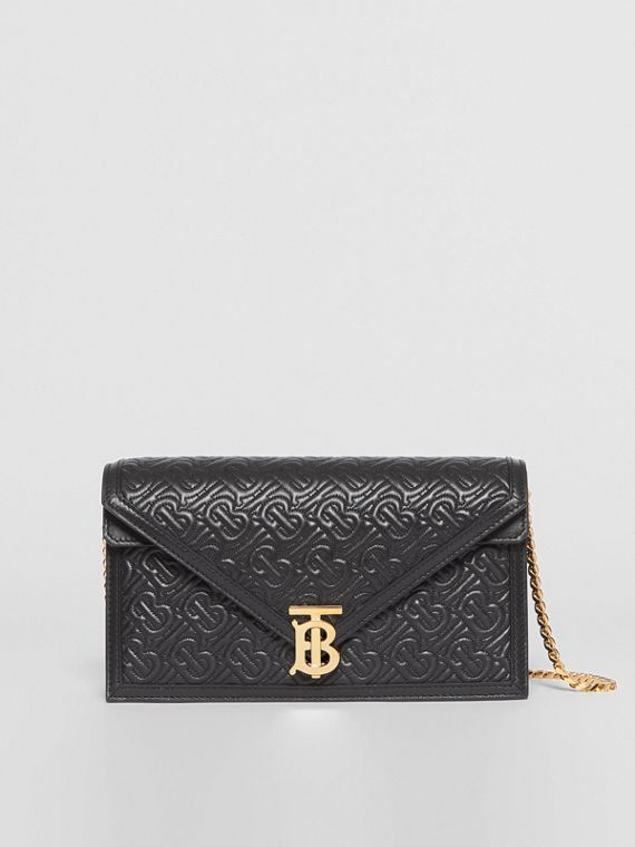 Small Quilted Monogram TB Envelope Clutch in Black