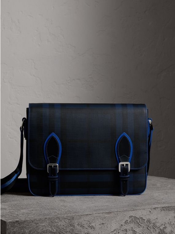 Borsa messenger media bicolore con motivo London check (Navy/blu)