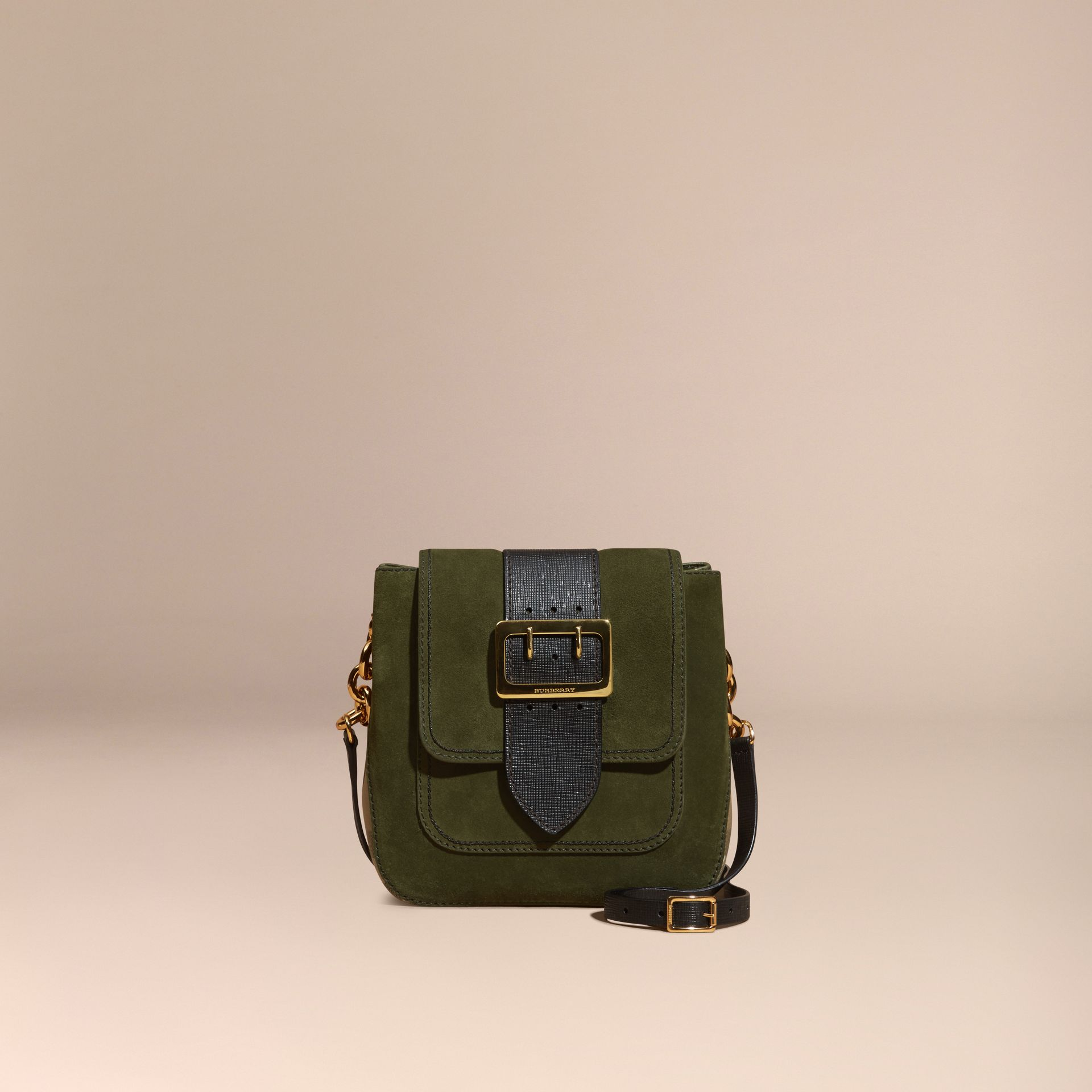 Military green The Medium Buckle Bag – Square in English Suede and House Check - gallery image 7