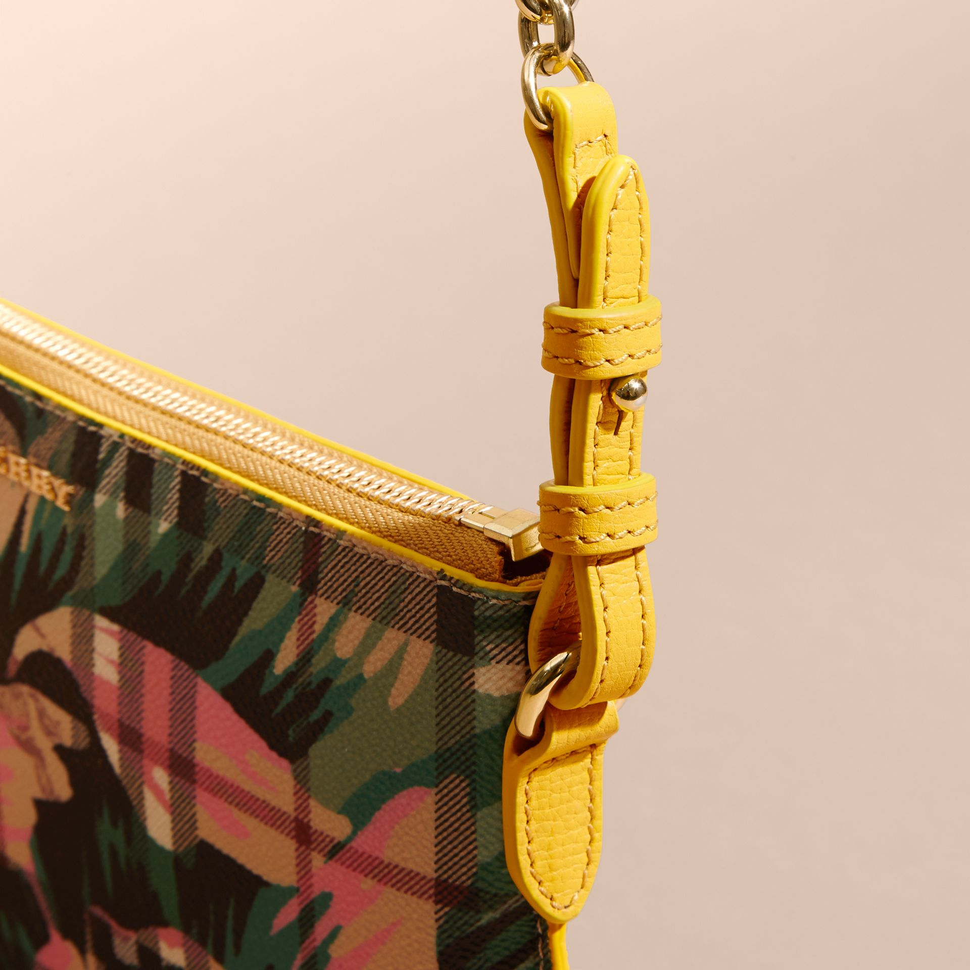 Peony Rose Print Haymarket Check and Leather Clutch Bag in Larch Yellow/emerald Green - gallery image 2
