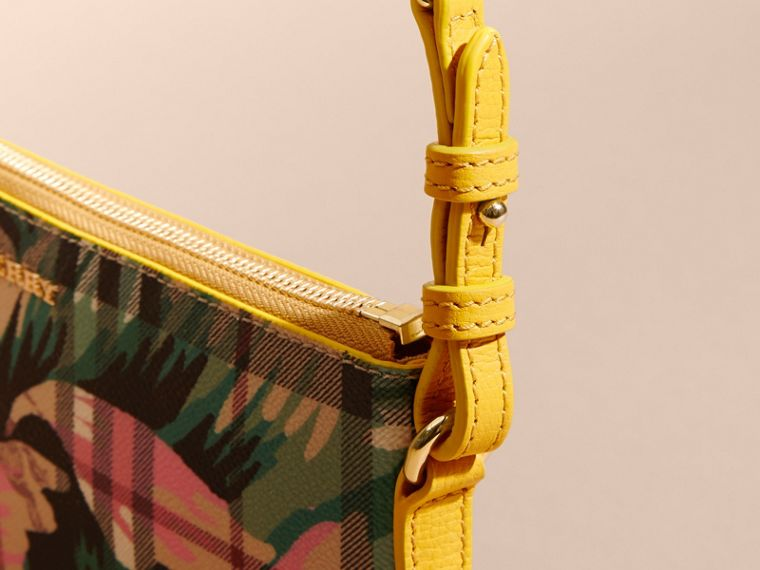Peony Rose Print Haymarket Check and Leather Clutch Bag in Larch Yellow/emerald Green - cell image 1