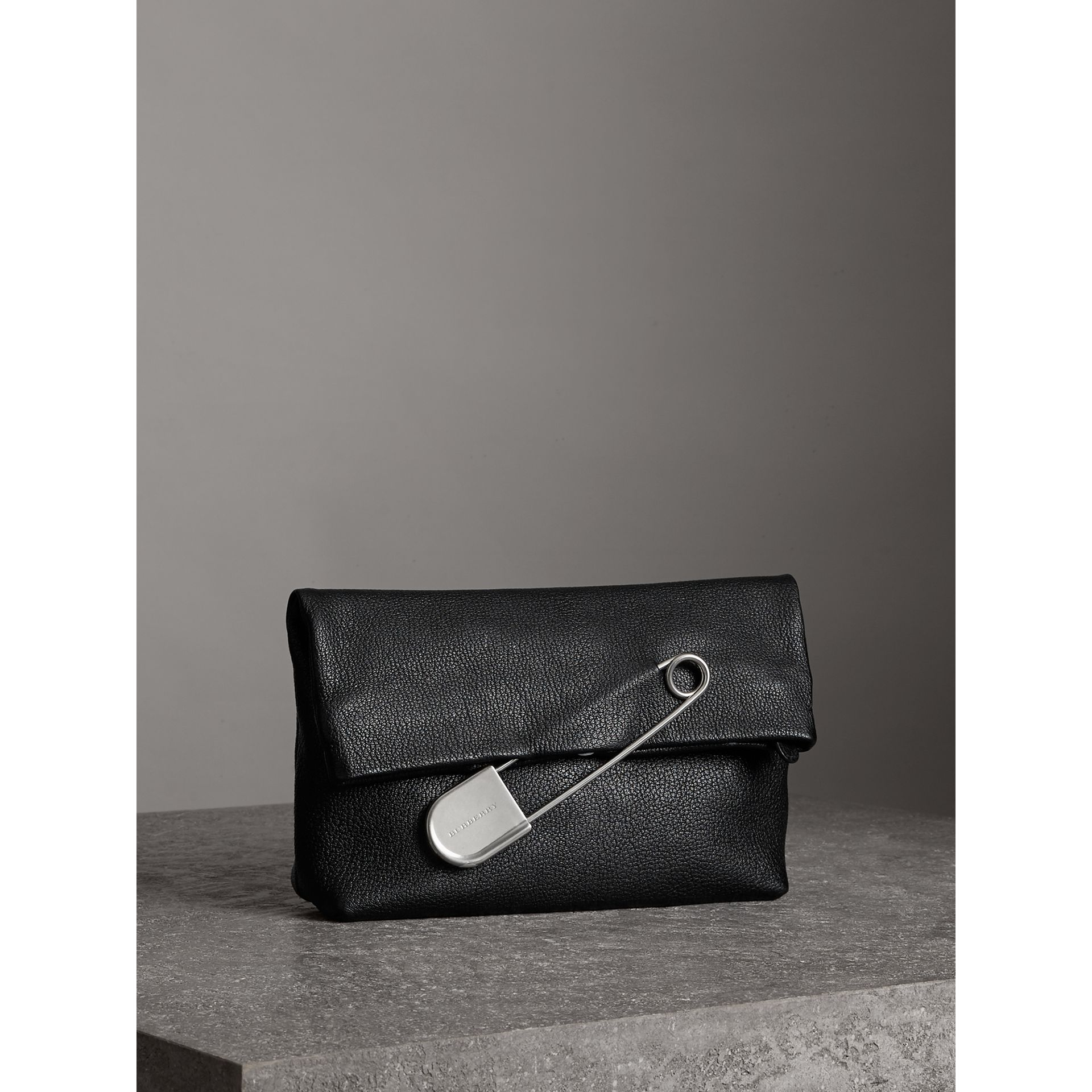 The Medium Pin Clutch in Leather in Black - Women | Burberry United Kingdom - gallery image 5