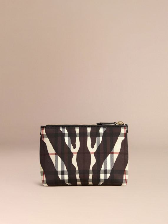 Black Medium Printed Horseferry Check Beauty Pouch - cell image 3