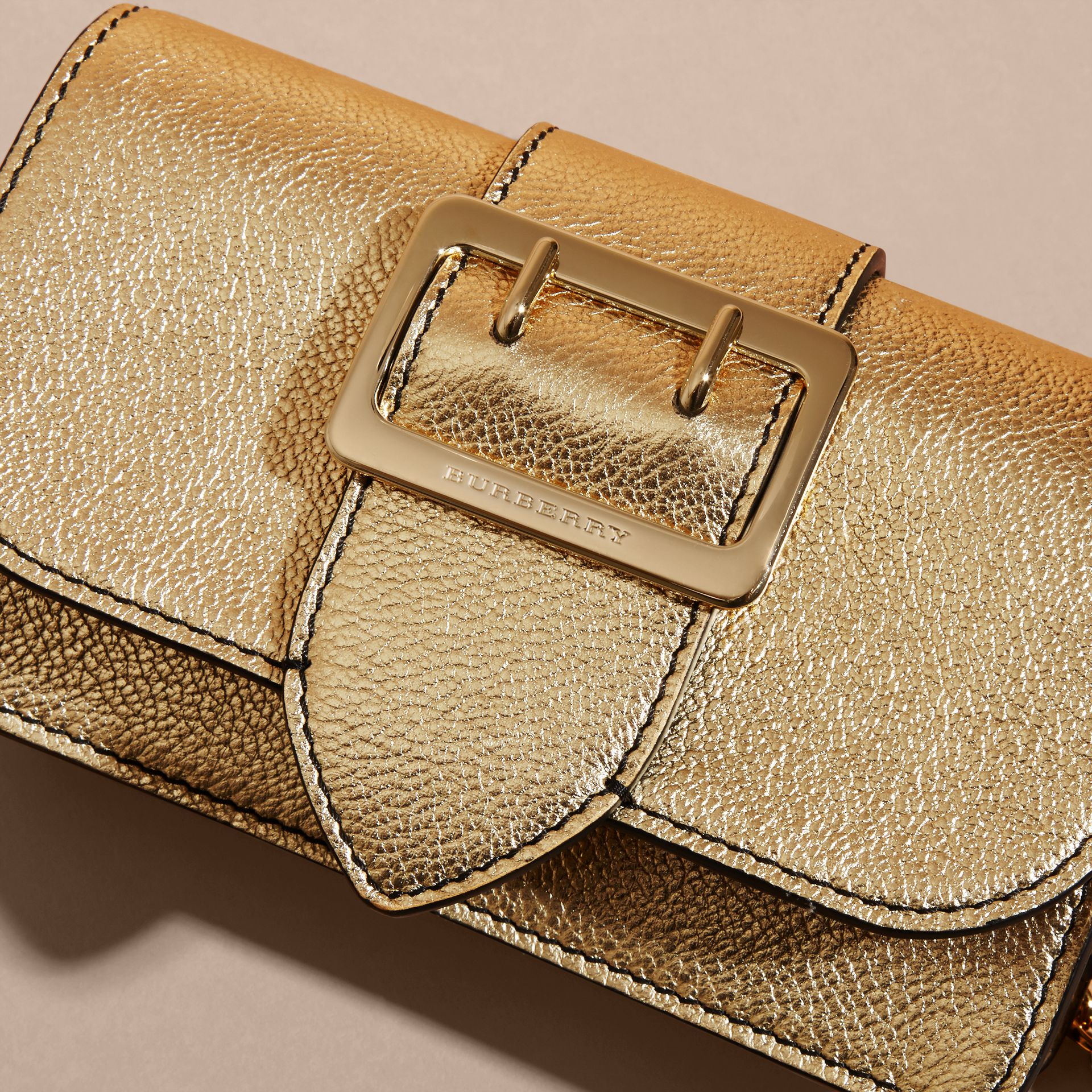 Gold The Mini Buckle Bag in Metallic Grainy Leather Gold - gallery image 2