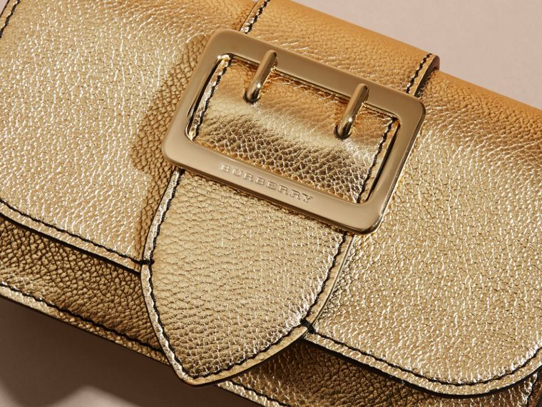 Gold The Mini Buckle Bag in Metallic Grainy Leather Gold - cell image 1