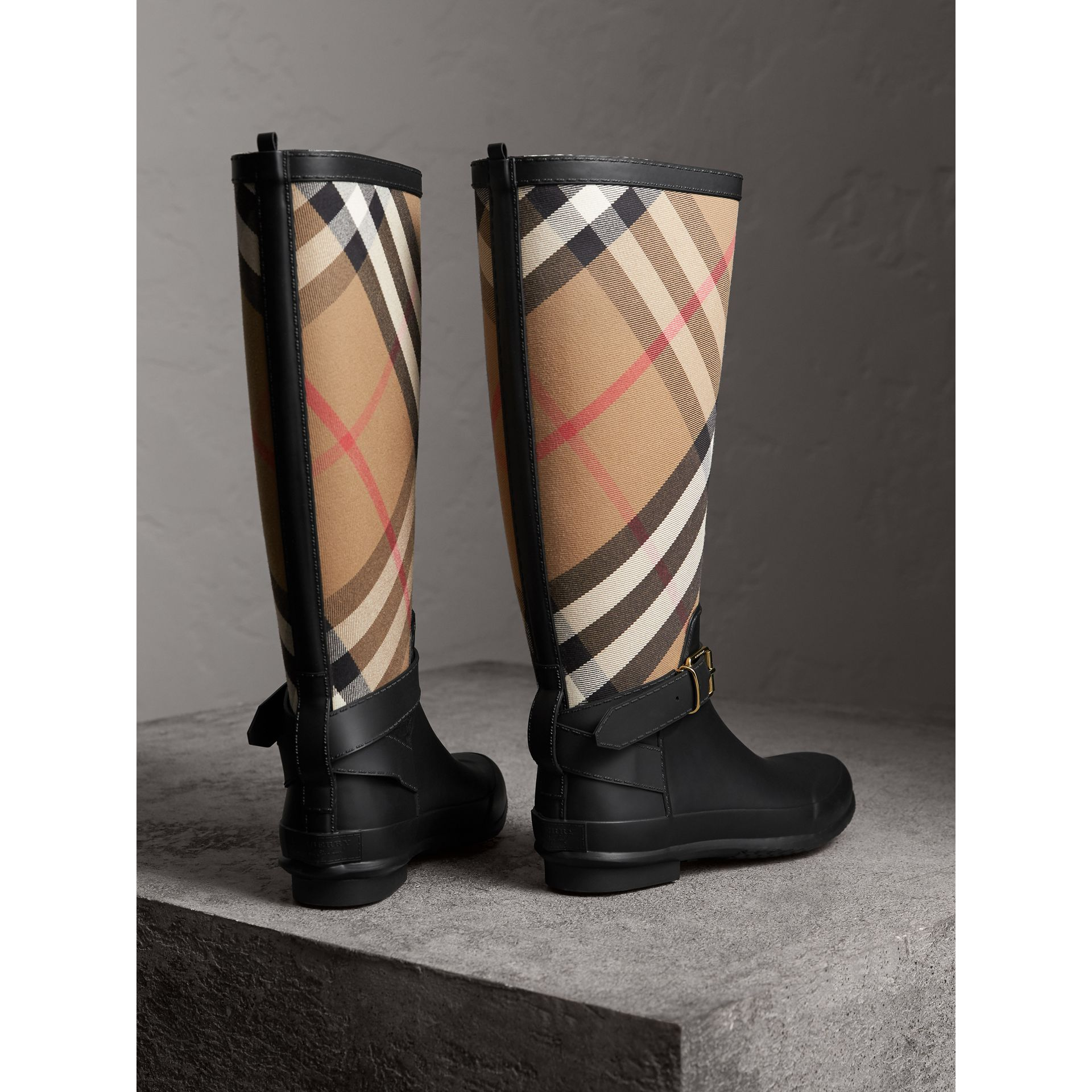 Belt Detail Check and Rubber Rain Boots in House Check/black - Women | Burberry Australia - gallery image 3