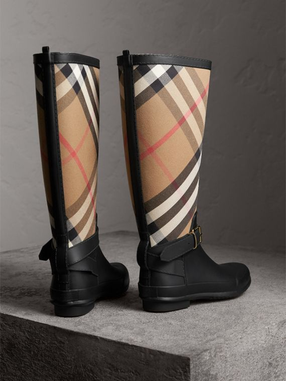 Belt Detail Check and Rubber Rain Boots in House Check/black - Women | Burberry - cell image 3