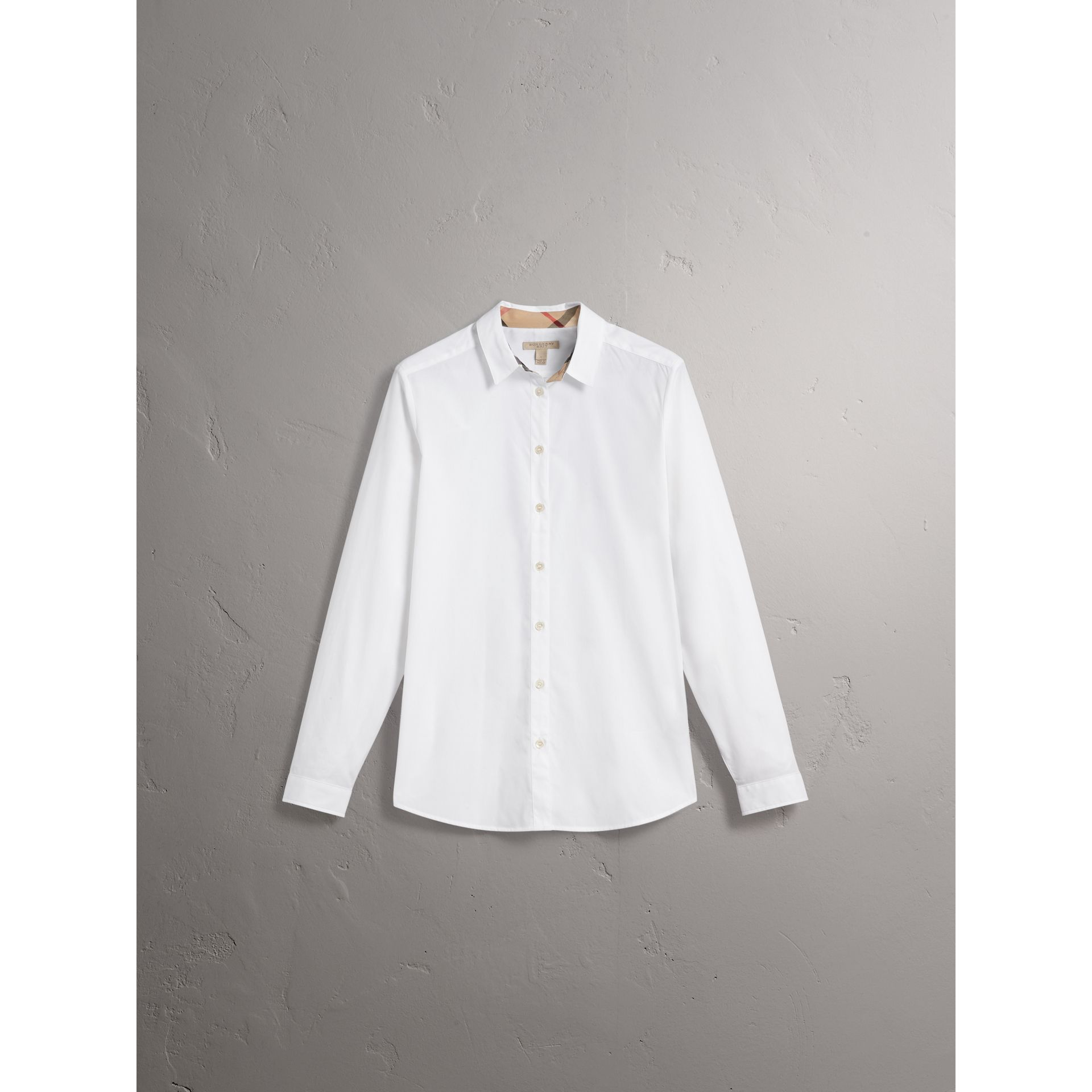 Check Detail Stretch Cotton Shirt in White - Women | Burberry - gallery image 4