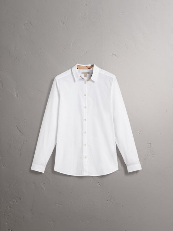 Check Detail Stretch Cotton Shirt - Women | Burberry - cell image 3