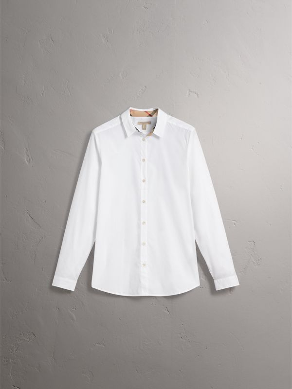 Check Detail Stretch Cotton Shirt in White - Women | Burberry - cell image 3