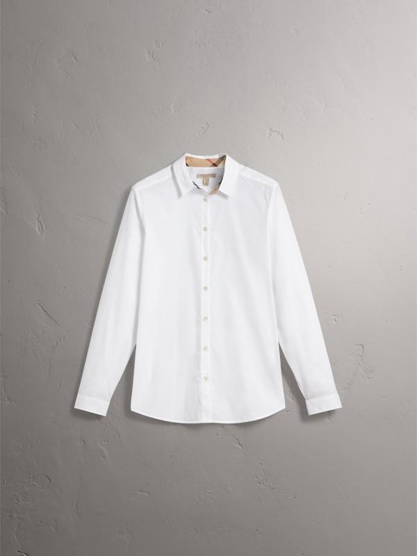 Camisa de algodão stretch com detalhe em xadrez (Branco) - Mulheres | Burberry - cell image 3