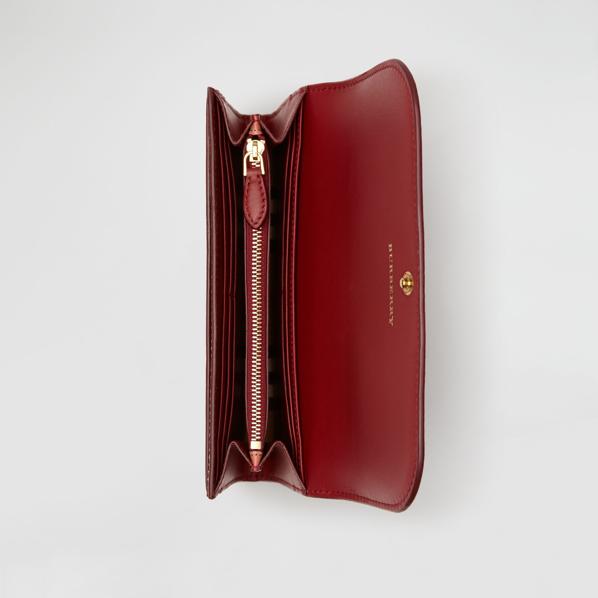 Vintage Check and Leather Continental Wallet in Crimson - Women | Burberry Australia - gallery image 2