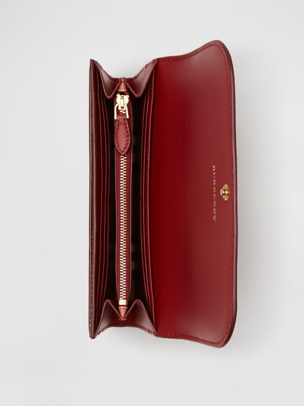 Vintage Check and Leather Continental Wallet in Crimson - Women | Burberry Australia - cell image 2