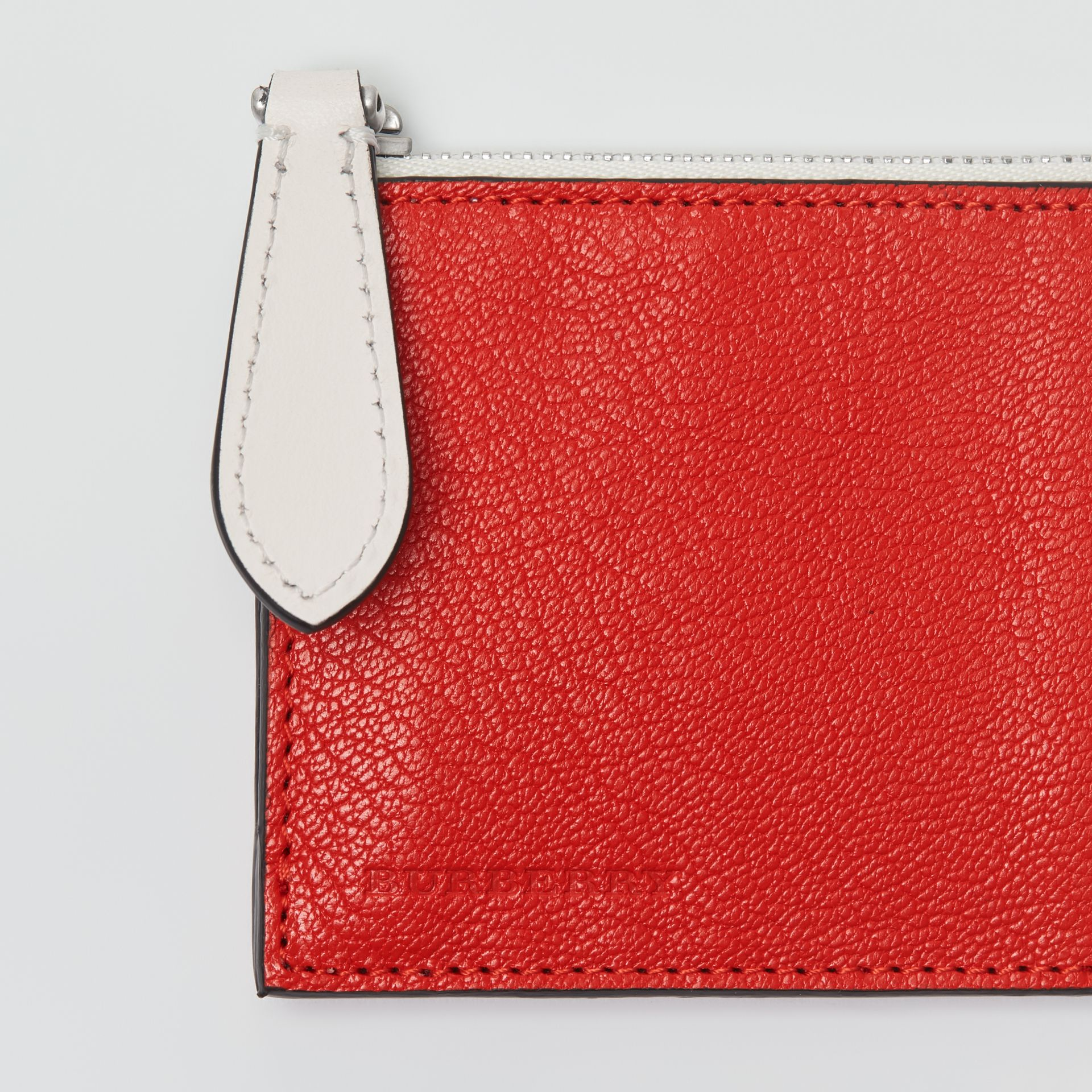 Two-tone Leather Zip Card Case in Bright Red | Burberry - gallery image 1
