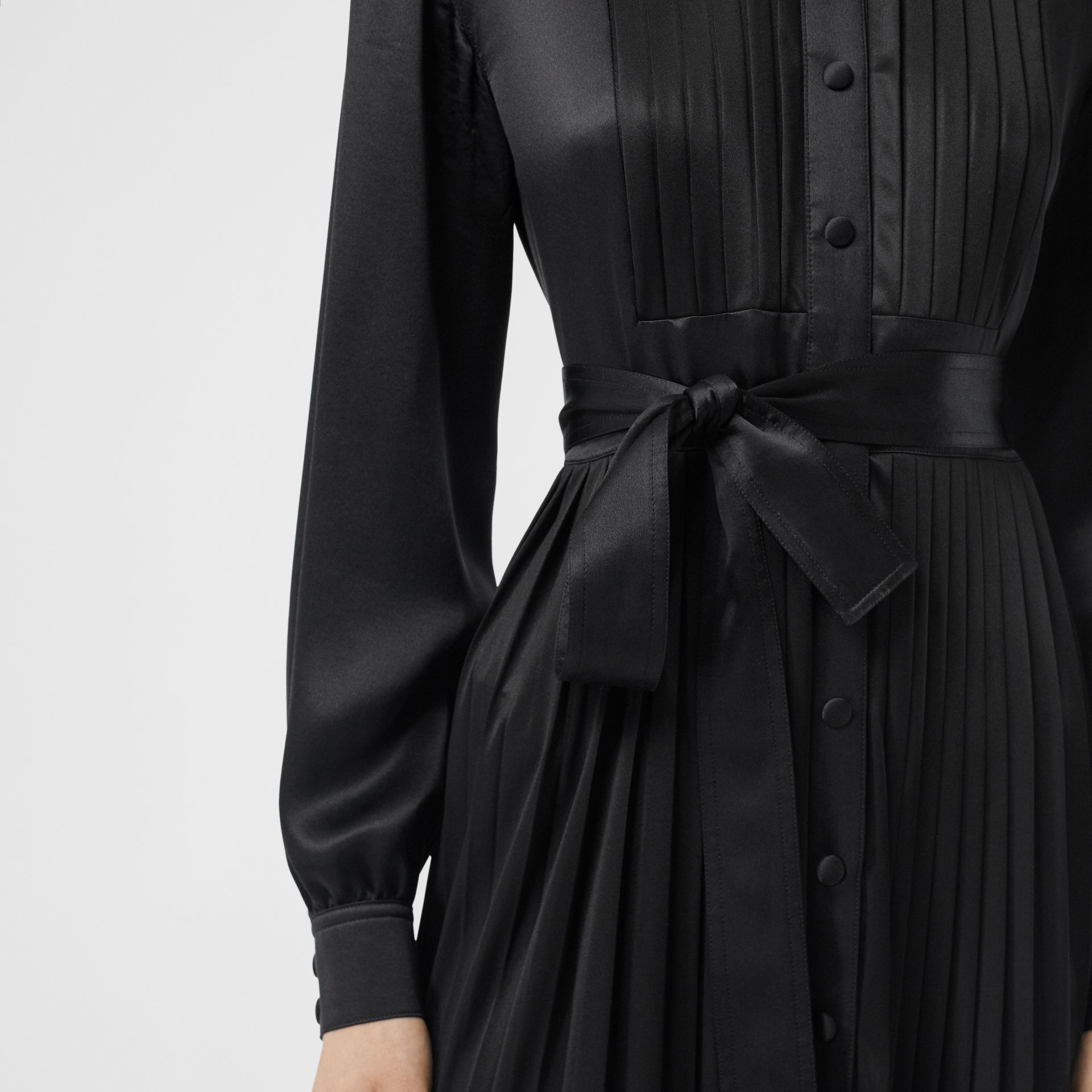 Pleated Silk Satin and Jersey Tie-waist Shirt Dress in Black - Women | Burberry - gallery image 3