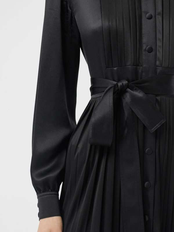 Pleated Silk Satin and Jersey Tie-waist Shirt Dress in Black - Women | Burberry - cell image 3