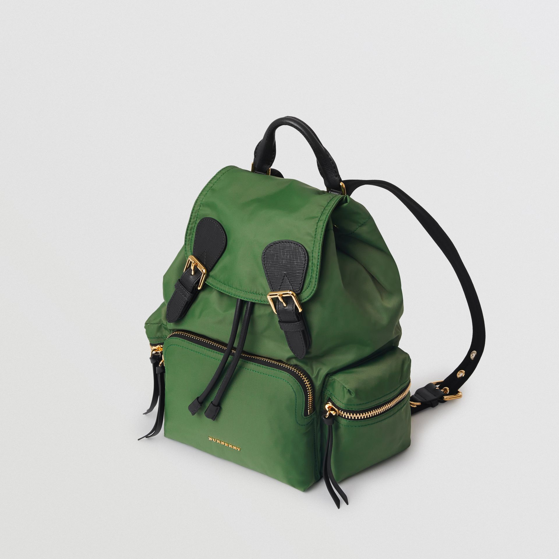 The Medium Rucksack in Technical Nylon and Leather in Racing Green - Women | Burberry - gallery image 3