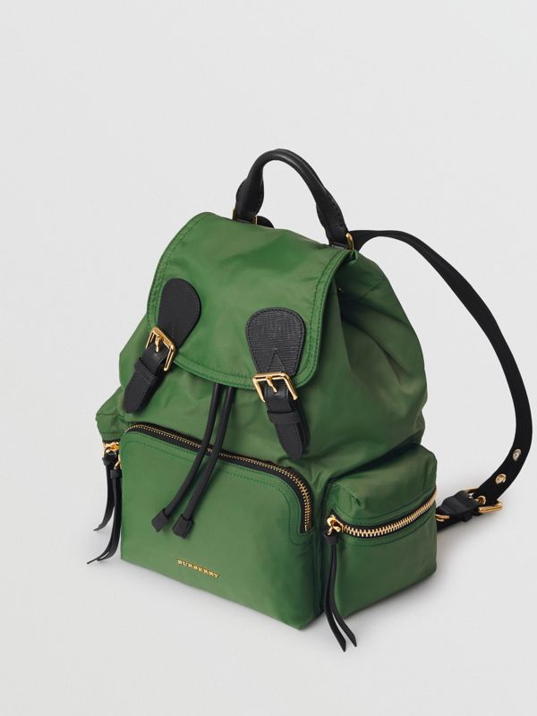 The Medium Rucksack in Technical Nylon and Leather in Racing Green - Women | Burberry - cell image 3