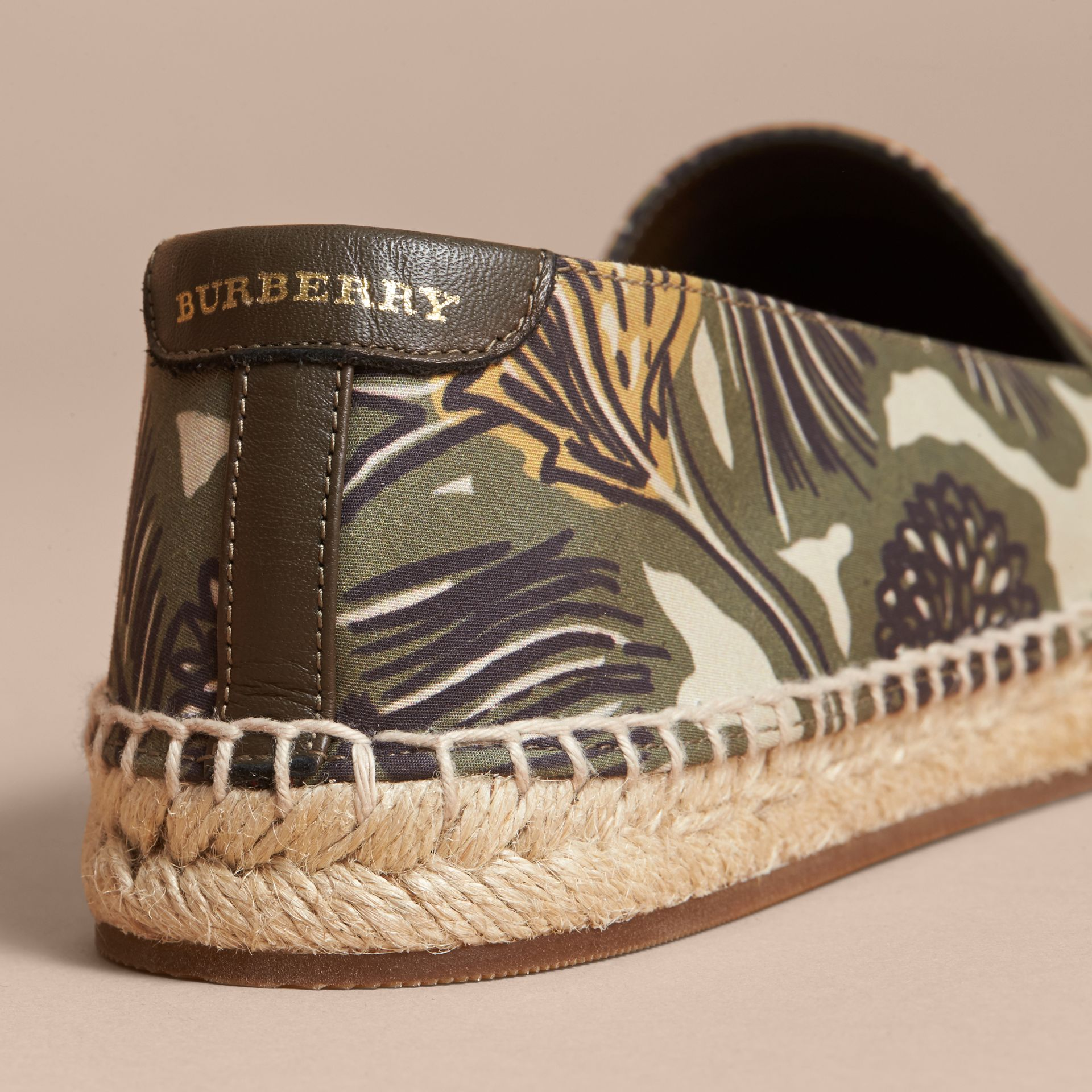 Beasts Print Cotton Blend Espadrilles in Clay Green - Women | Burberry United Kingdom - gallery image 5
