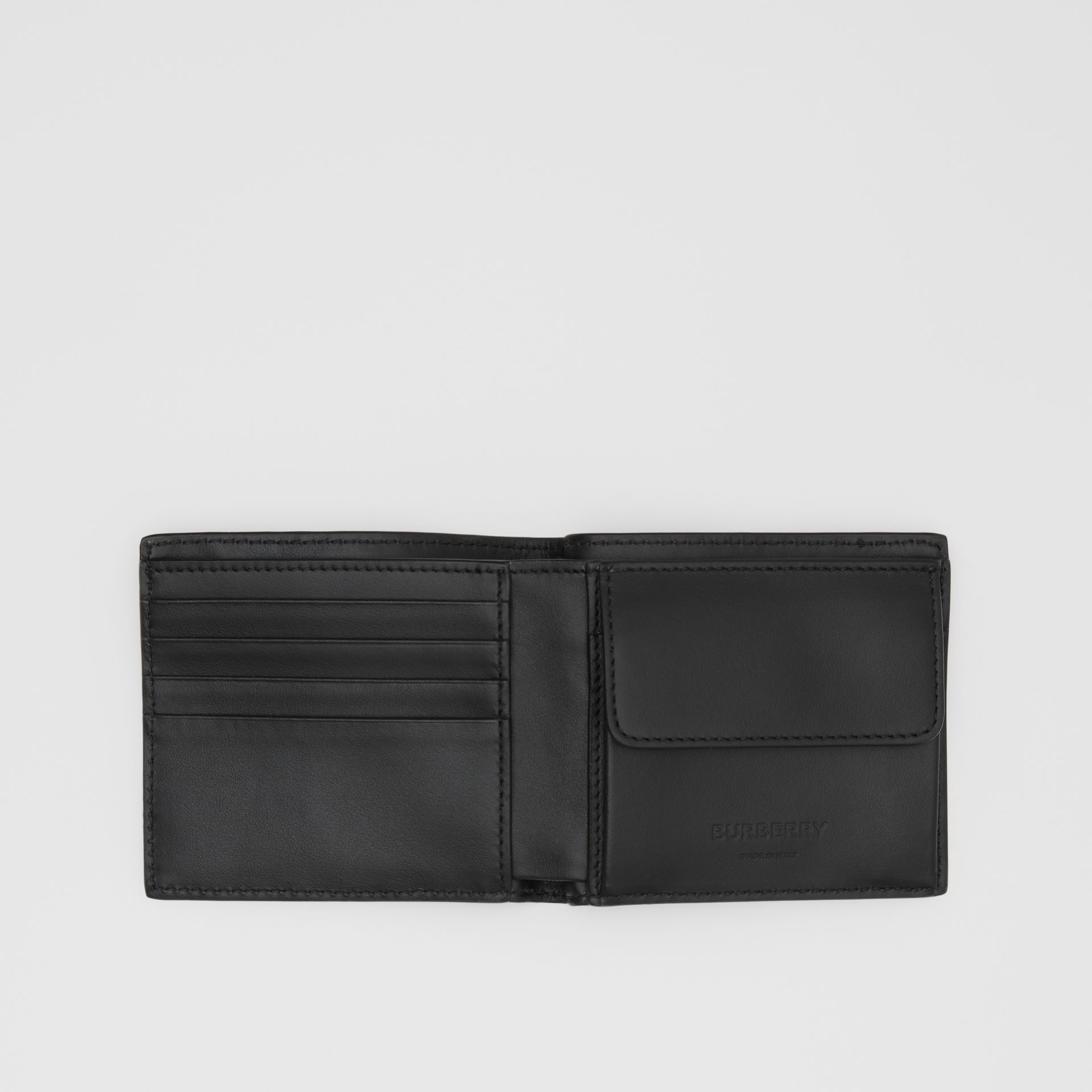 Monogram Leather International Bifold Coin Wallet in Black - Men | Burberry - gallery image 2