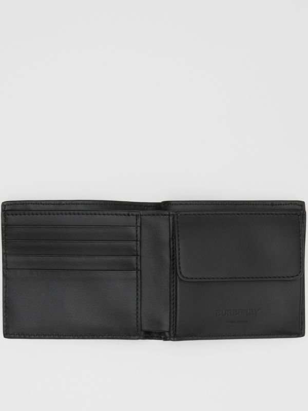 Monogram Leather International Bifold Coin Wallet in Black - Men | Burberry - cell image 2