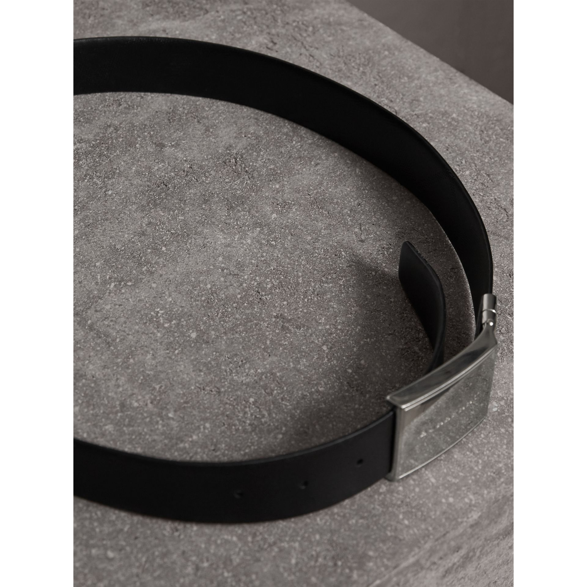 Reversible Check Embossed Leather Belt in Black - Men | Burberry Singapore - gallery image 4
