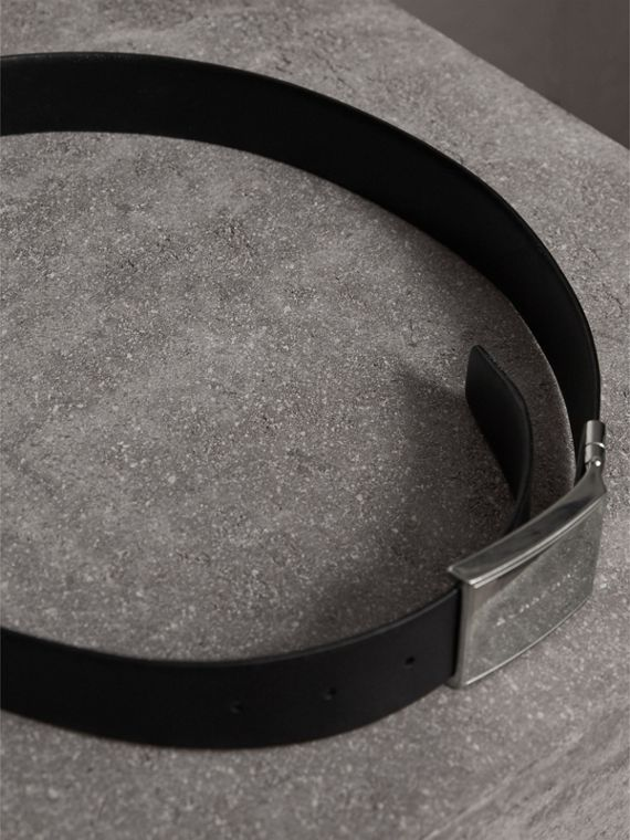 Reversible Check Embossed Leather Belt in Black - Men | Burberry - cell image 3