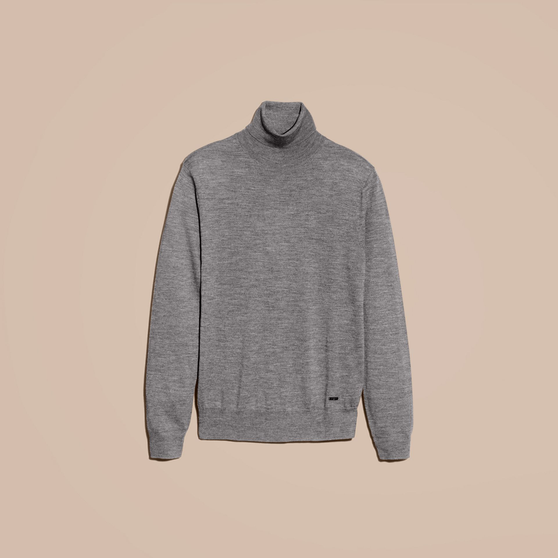 Merino Wool Roll-neck Sweater Mid Grey Melange - gallery image 4