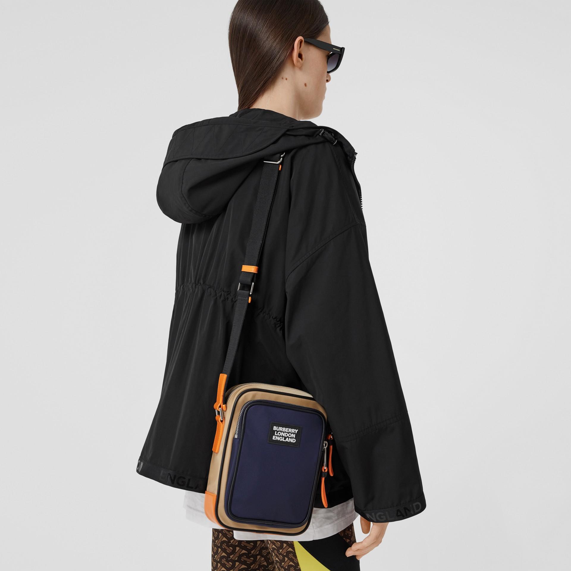 Logo Appliqué Two-tone ECONYL® Crossbody Bag in Regency Blue/bright Orange - Men | Burberry United Kingdom - gallery image 2