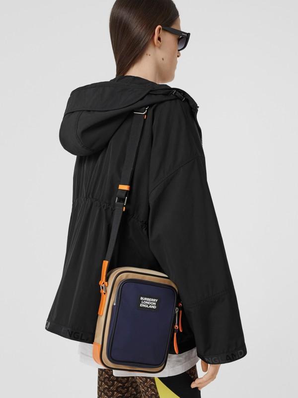 Logo Appliqué Two-tone ECONYL® Crossbody Bag in Regency Blue/bright Orange - Men | Burberry United Kingdom - cell image 2