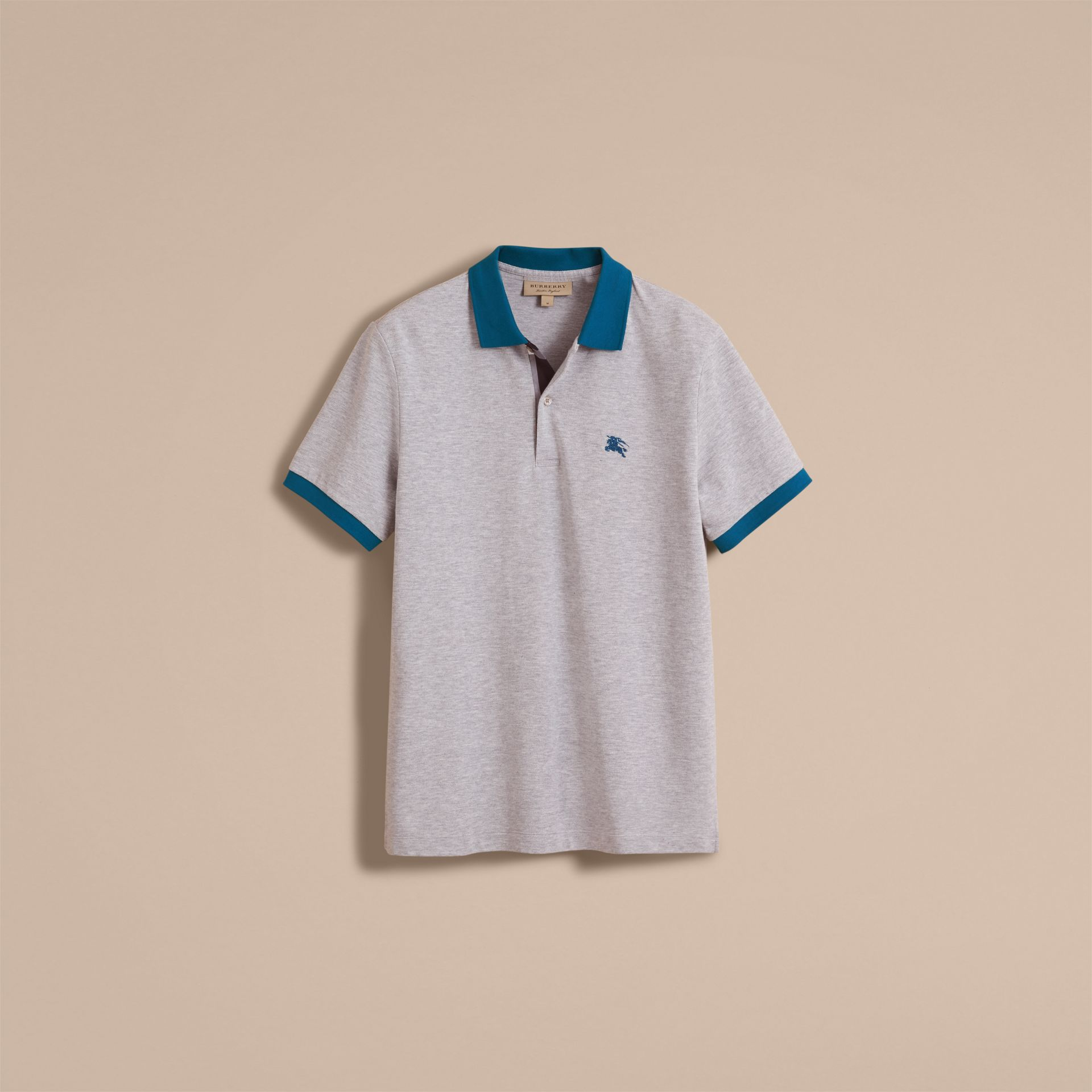 Two-tone Check Placket Cotton Piqué Polo Shirt in Pale Grey Melange - gallery image 4