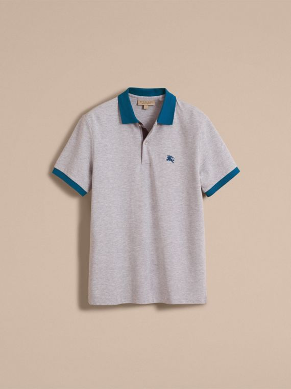 Two-tone Check Placket Cotton Piqué Polo Shirt in Pale Grey Melange - cell image 3
