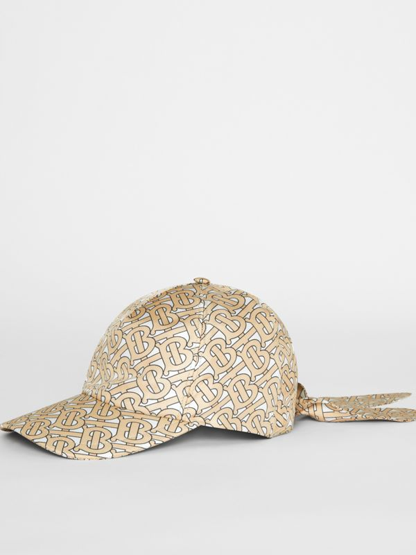 Monogram Print Baseball Cap in Camel - Women | Burberry Australia - cell image 3