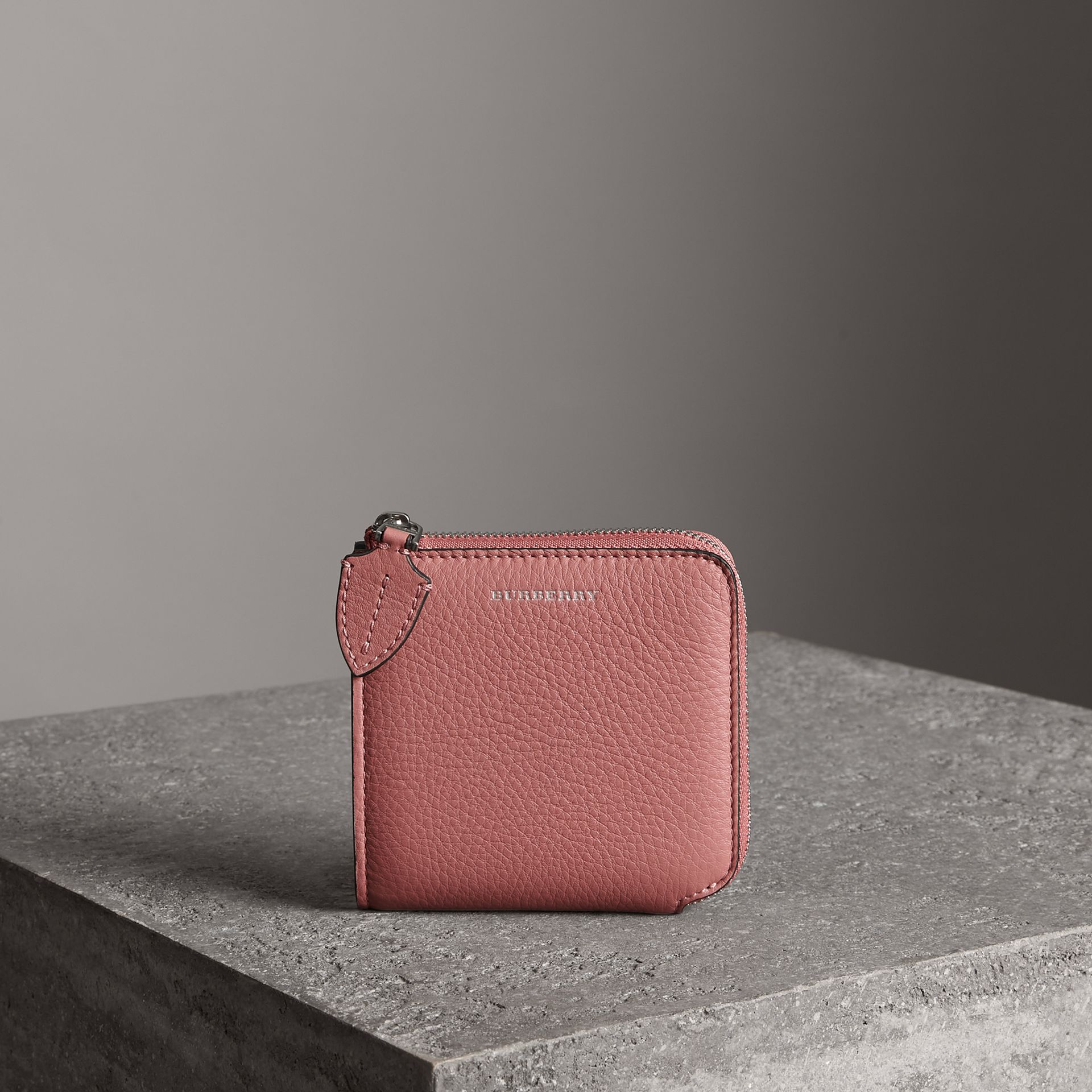 Grainy Leather Square Ziparound Wallet in Dusty Rose - Women | Burberry - gallery image 0