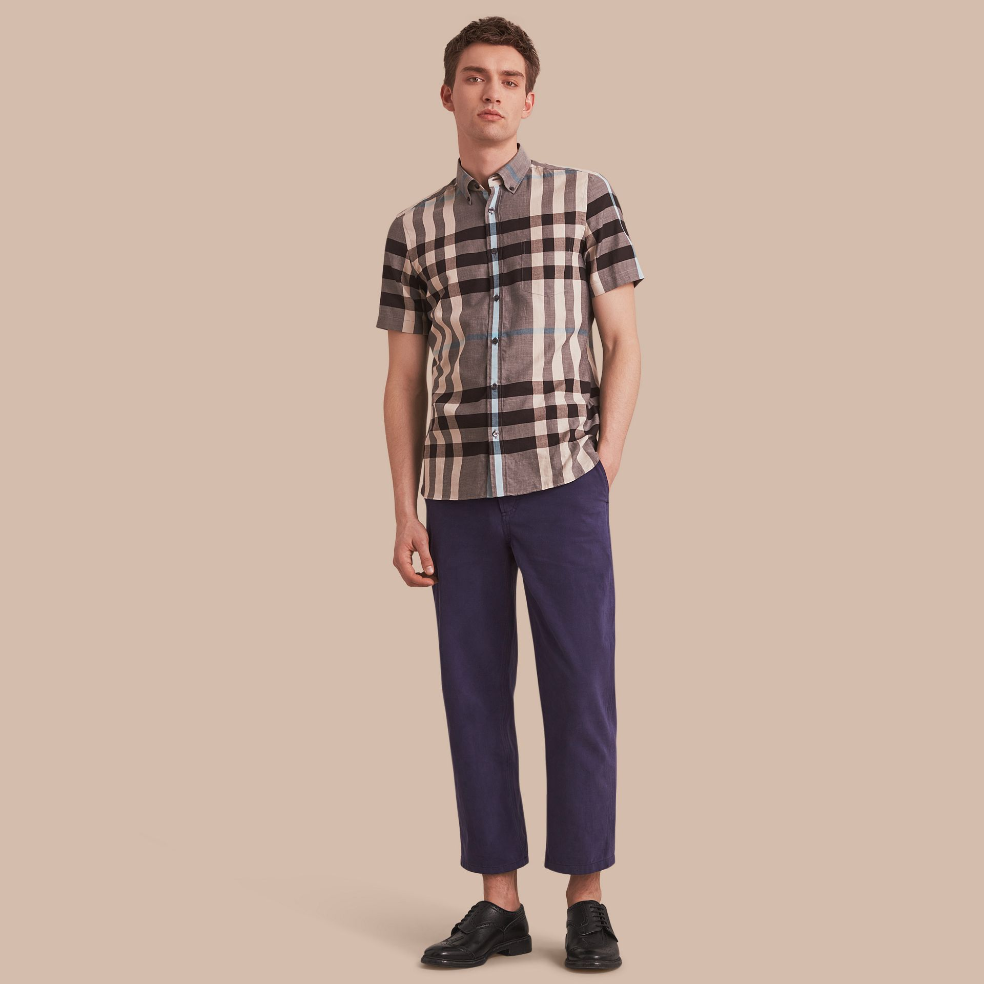 Button-down Collar Short-sleeve Check Cotton Shirt in Mist Grey - gallery image 1