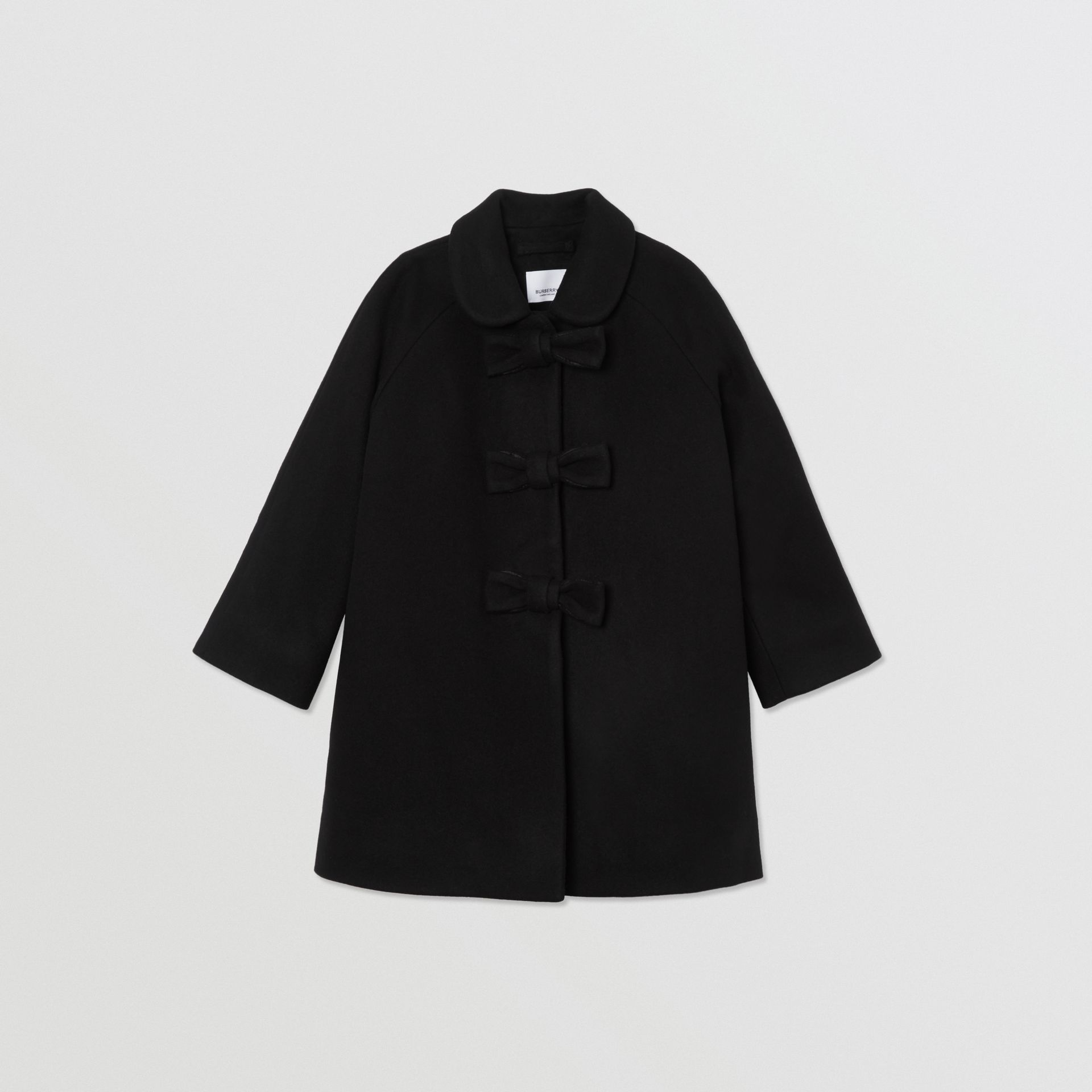 Embellished Melton Wool Swing Coat in Black | Burberry Hong Kong S.A.R - gallery image 0