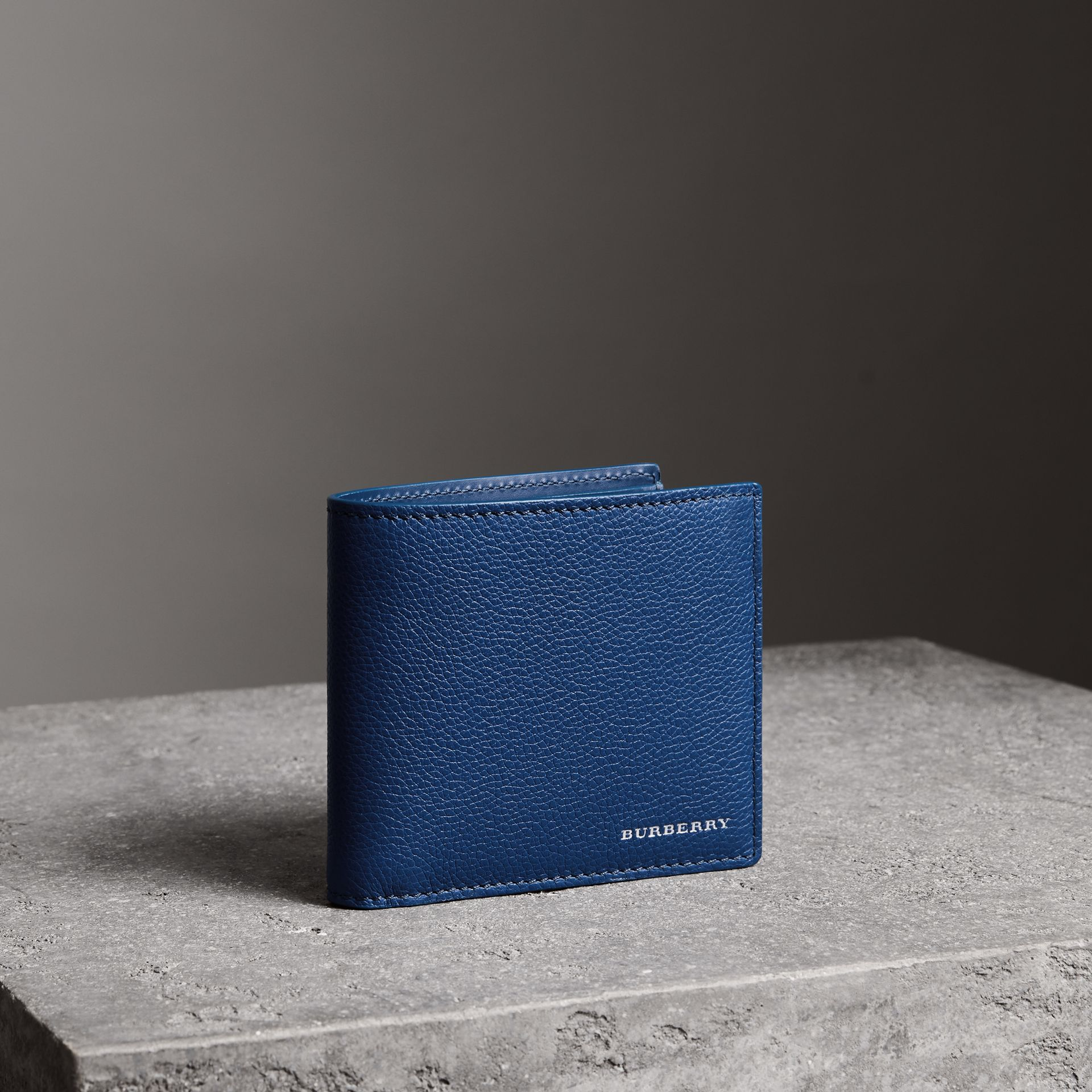 Grainy Leather International Bifold Wallet in Bright Ultramarine - Men | Burberry Canada - gallery image 0