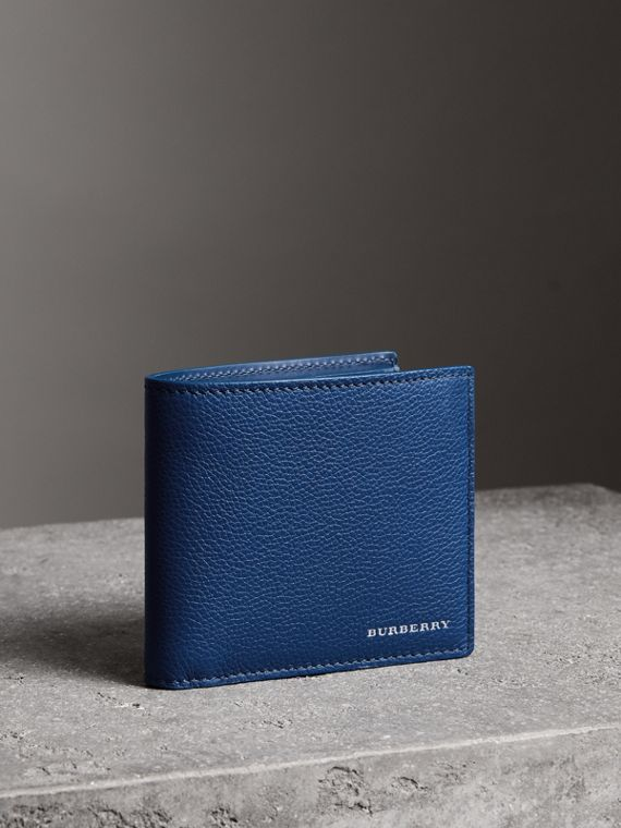 Grainy Leather International Bifold Wallet in Bright Ultramarine