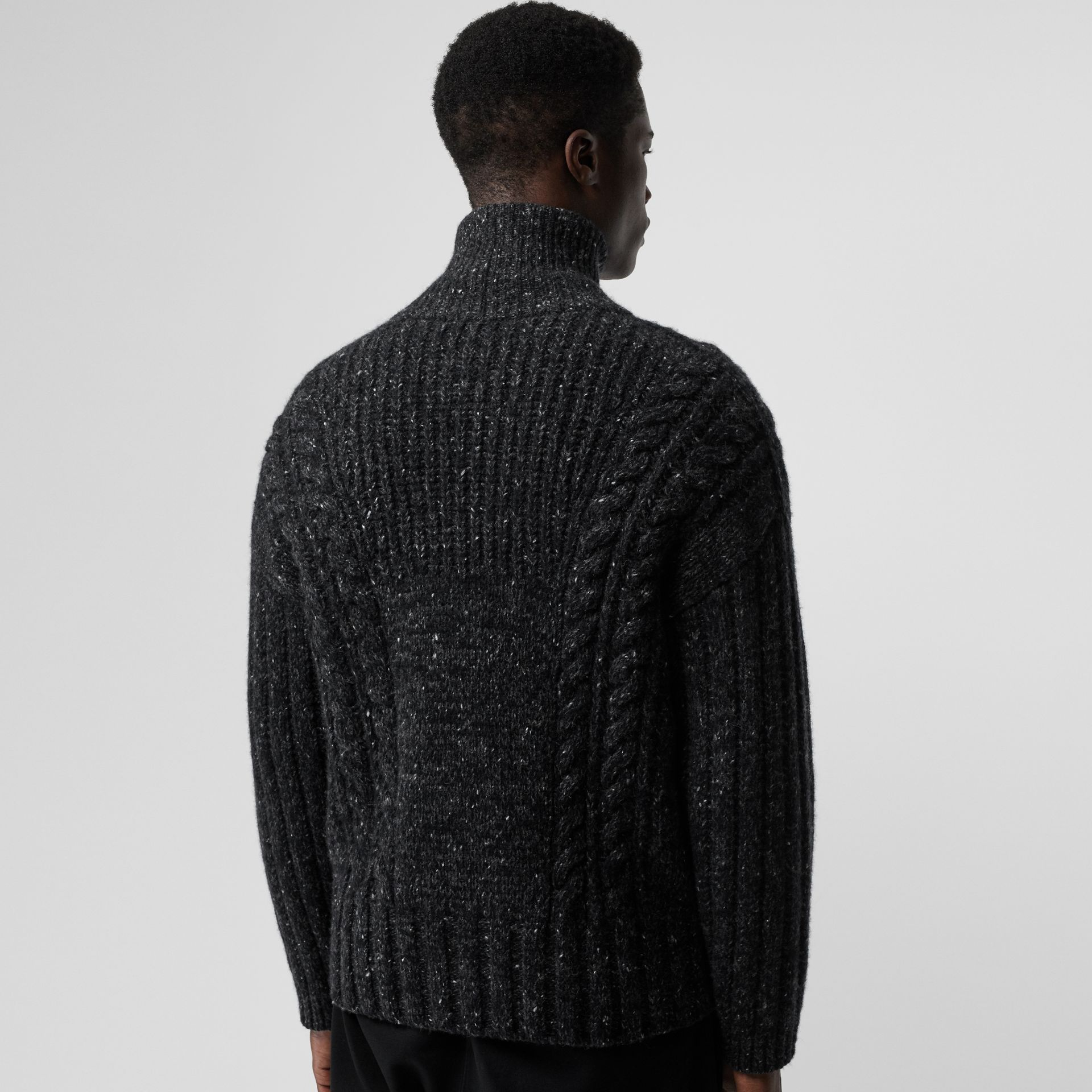 Cable Knit Cashmere Wool Mohair Zip-front Sweater in Black - Men | Burberry - gallery image 2