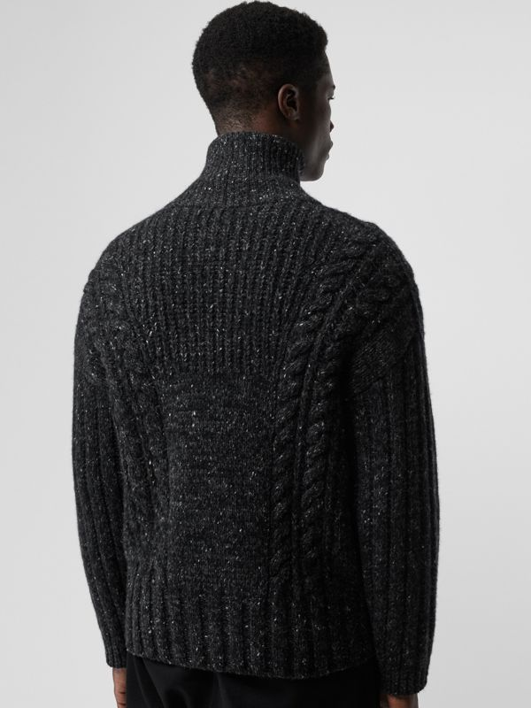 Cable Knit Cashmere Wool Mohair Zip-front Sweater in Black - Men | Burberry - cell image 2