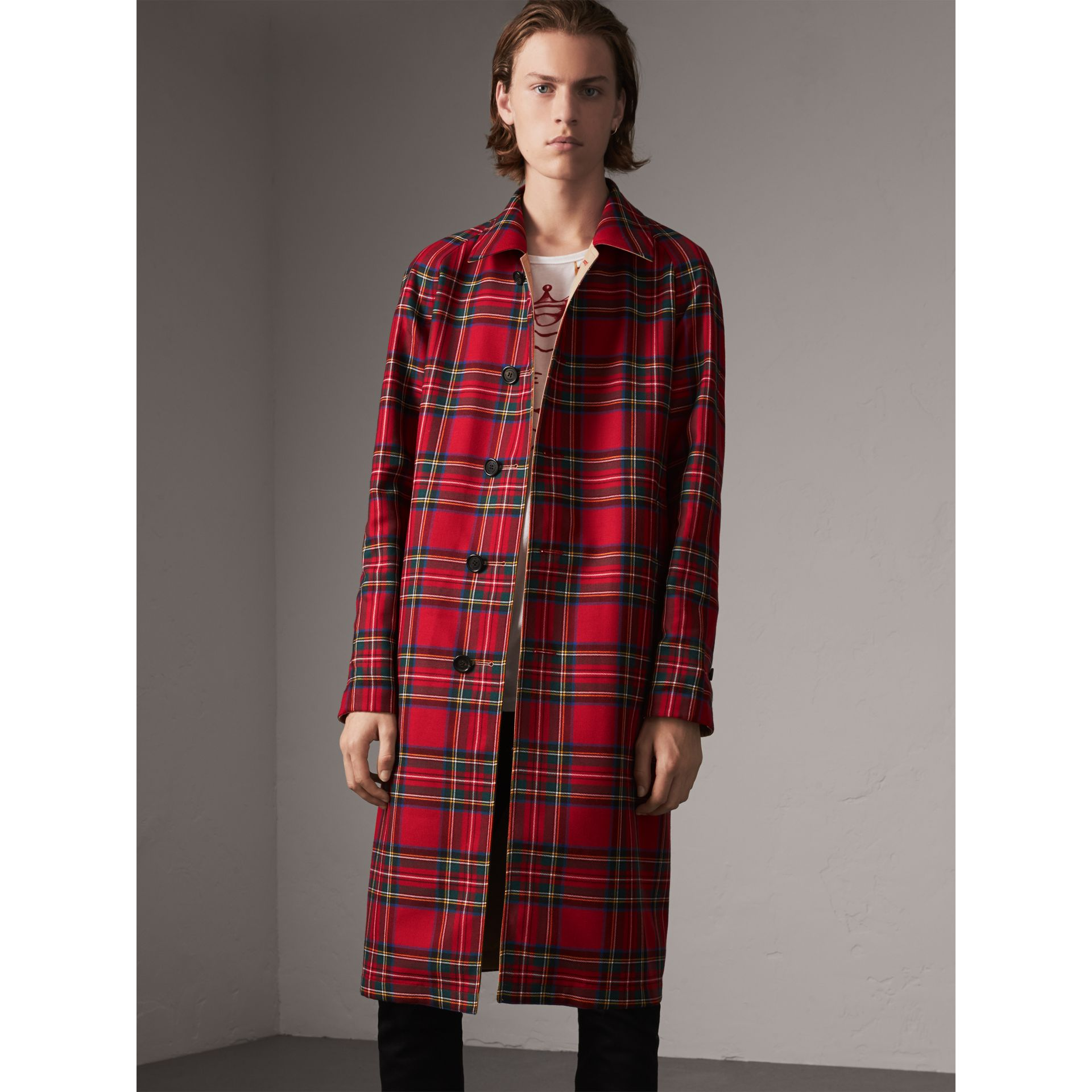 Reversible Gabardine and Tartan Wool Car Coat in Honey/ Red - Men | Burberry United States - gallery image 7