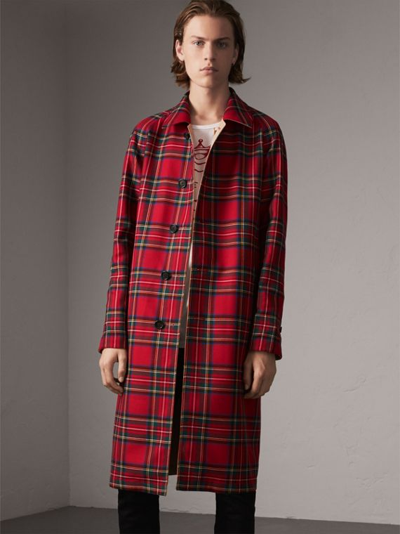Cappotto car coat double face in gabardine e lana con motivo tartan (Miele/rosso)