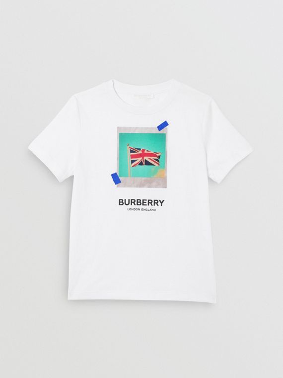 Union Jack Print Cotton T-shirt in White