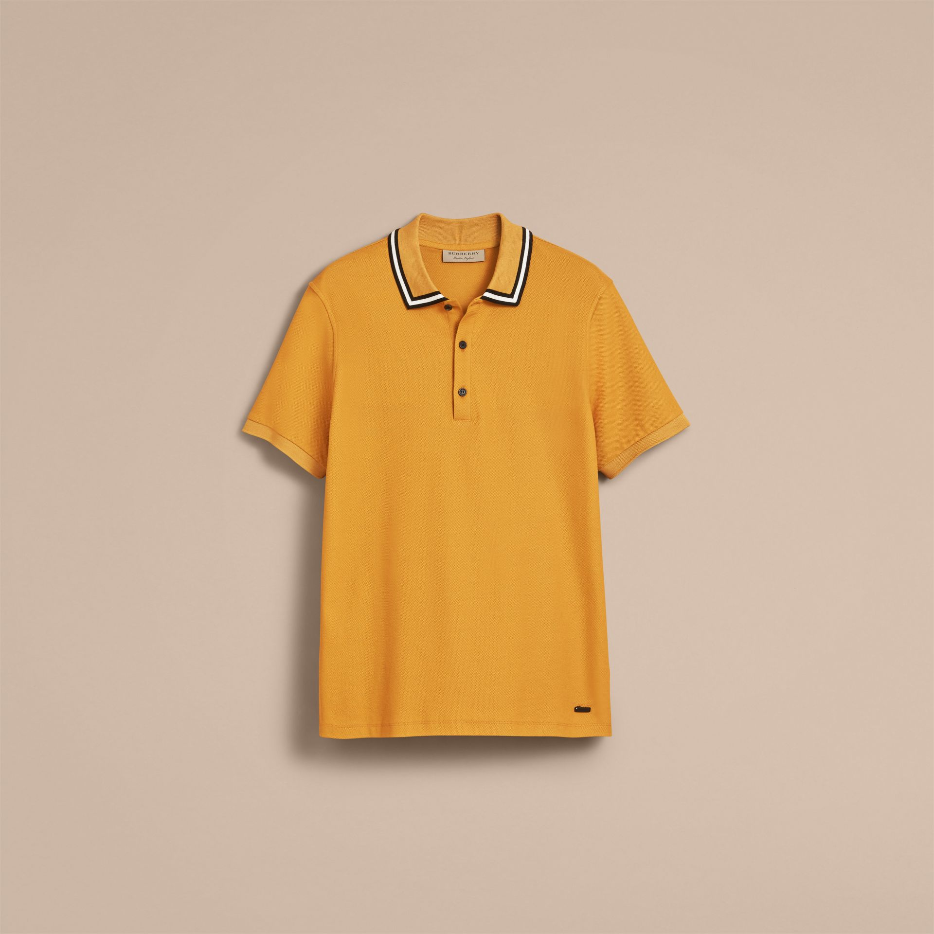 Striped Collar Cotton Piqué Polo Shirt in Saffron Yellow - Men | Burberry - gallery image 4