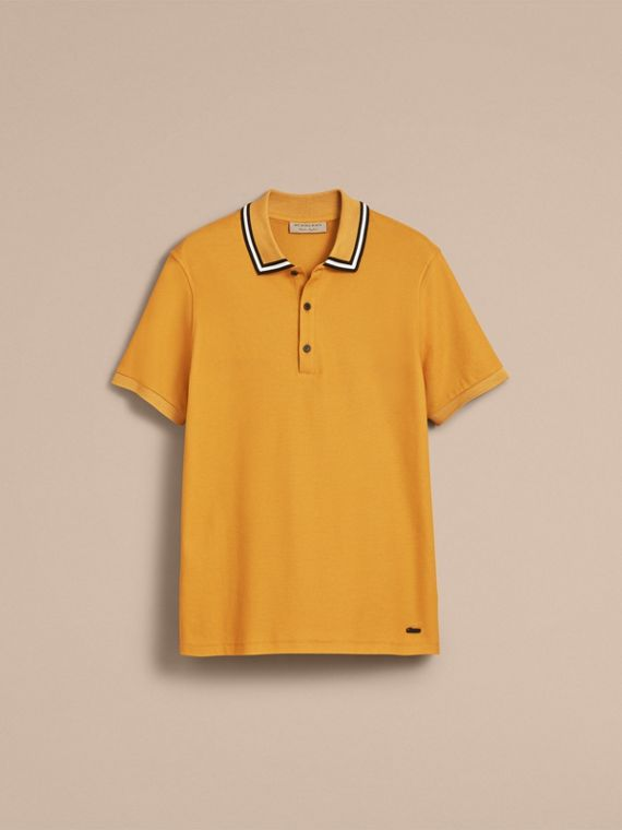 Striped Collar Cotton Piqué Polo Shirt in Saffron Yellow - Men | Burberry Canada - cell image 3