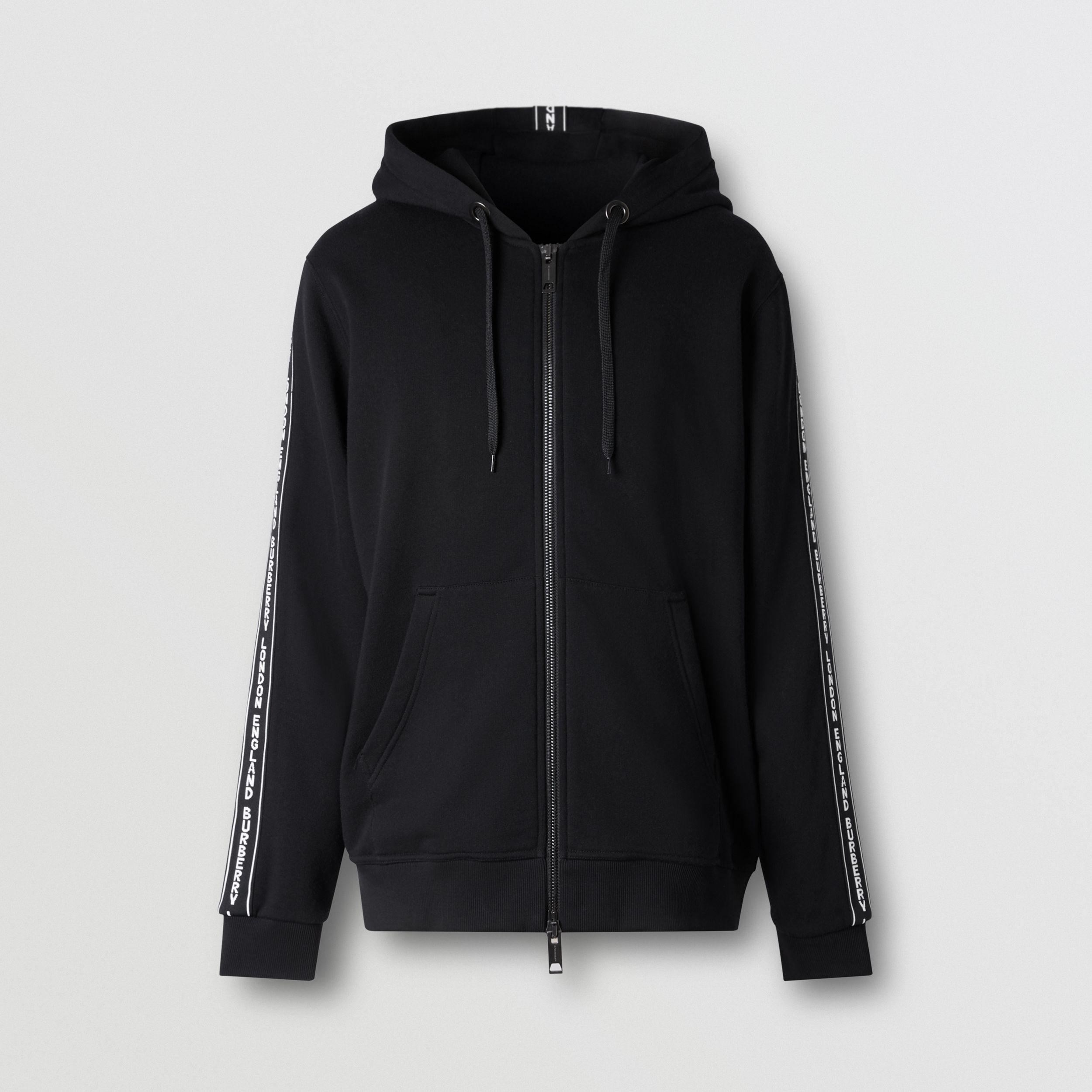 Logo Tape Cotton Hooded Top in Black - Men | Burberry - 4