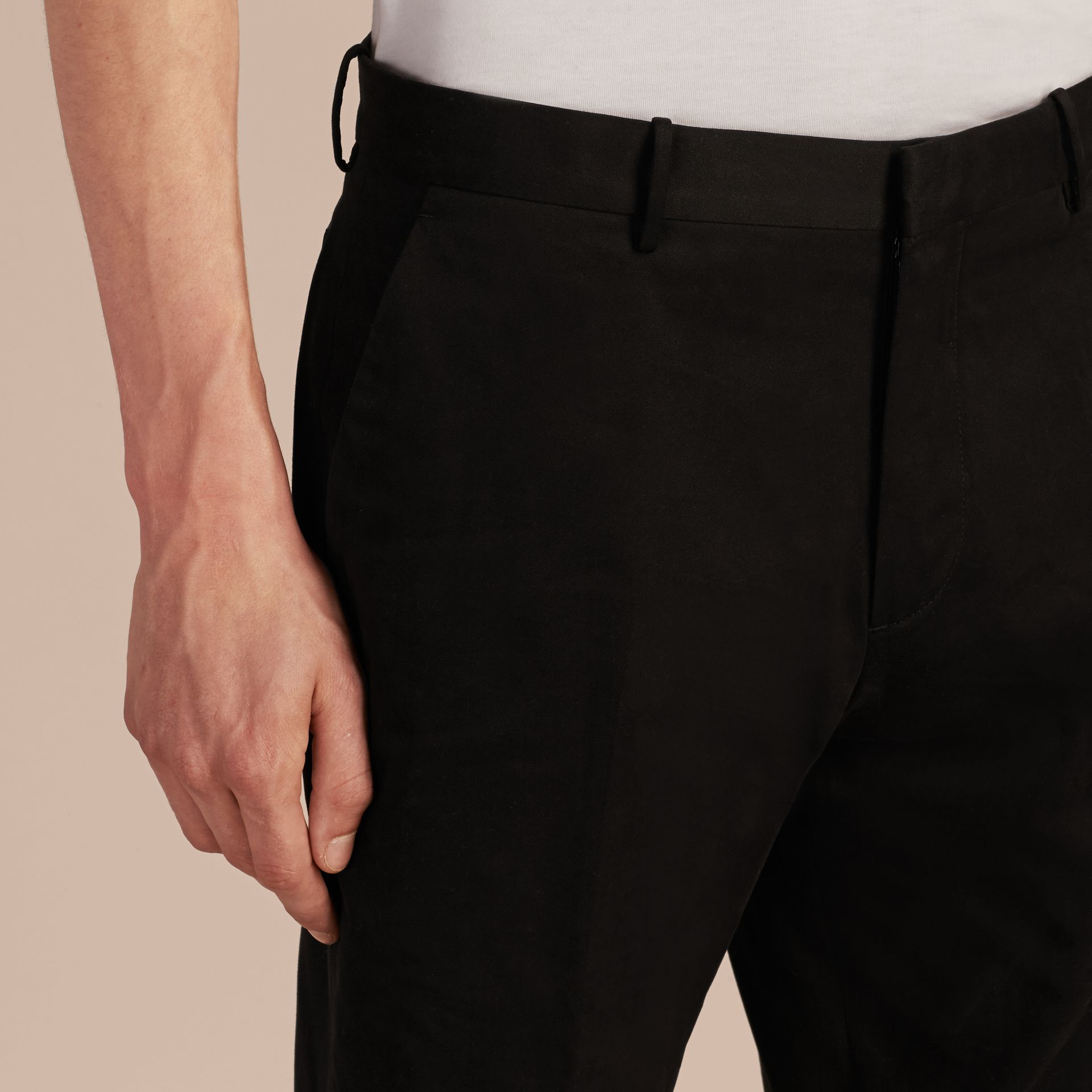 Black Slim Fit Cotton Trousers - gallery image 5