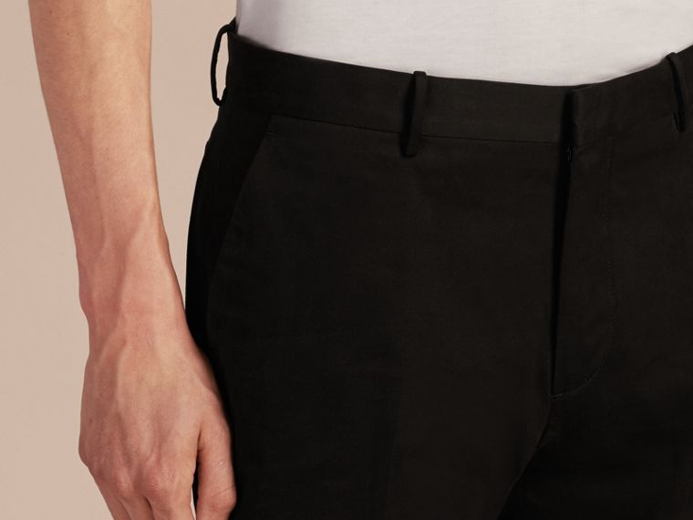 Black Slim Fit Cotton Trousers - cell image 4