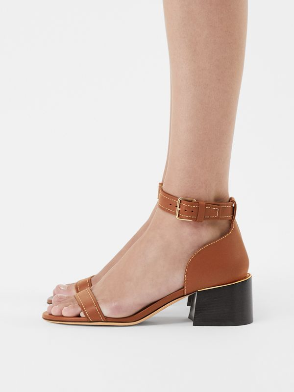 Gold-plated Detail Leather Block-heel Sandals in Tan - Women | Burberry - cell image 2